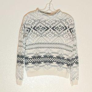 H&M LOGG Aztec Tribal B&W Crewneck Knit Sweater